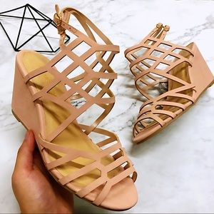 Pink Leather Strips Women's Wedge Heels Vintage